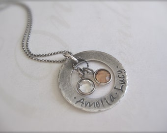 Hand Stamped Mommy Necklace Personalized Custom Washer Necklace with Children's Names and Birthstones