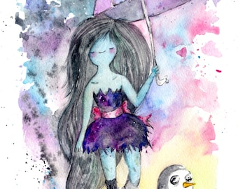 Marceline The Vampire Queen and Gunther, 8.5x11 inch inkjet print / Adventure Time Fan Art
