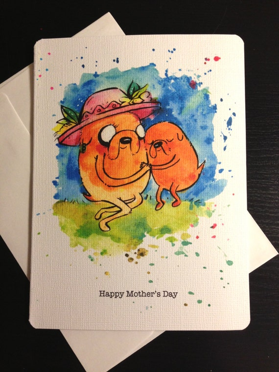 Jake and Mother, Adventure Time Inspired Mothers Day Blank Card. Mom, son, husband, nerd, geek, girl, guy, dork, comic.