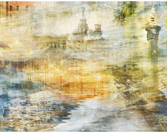 Abstract art City photography, large artwork, wall art print, St Petersburg City view, living room decor, russian art, 24x36, large poster