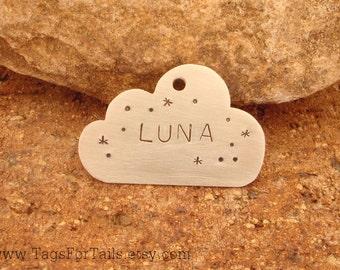Cloud Pet Tag -  Handmade Artisan Custom Pet ID Charm Copper Brass Nickle Unique  Stormy