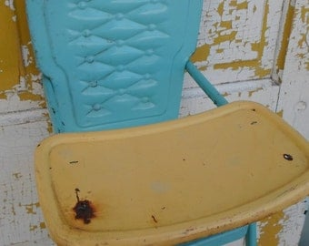 Vintage Amsco Metal Doll Highchair, Turquoise and Yellow, Toy,Child's, 1950's Cottage Chic, Shabby Chic