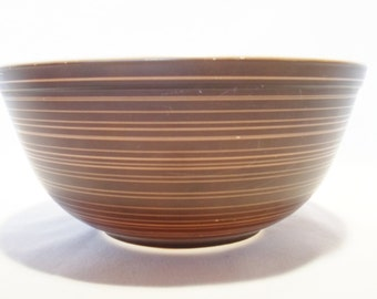Vintage Pyrex Terra Pattern Brown Striped Bowl 2 1/2 Qt, Number 403 From The 1960s, Nesting, Serving, Mid Century Modern