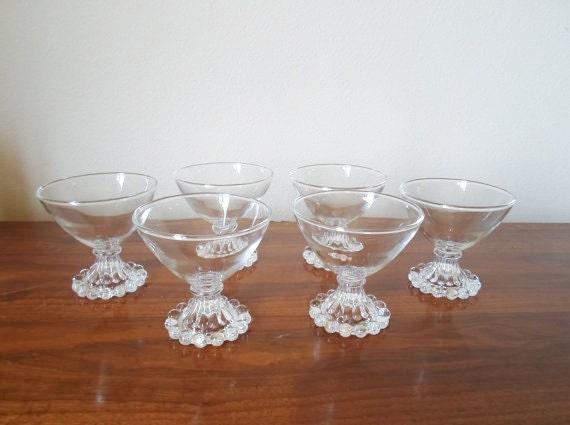 Vintage Set of Six Anchor Hocking Champagne Sherbet Bubble 4oz Glasses  Stemware Boopie Berwick Glassware  1950's  Mid Century Modern Atomi