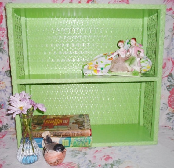 Vintage Green Wicker Shelf  Chippy paint   Shabby Chic   Cottage Chic  Wicker Wall Hanging