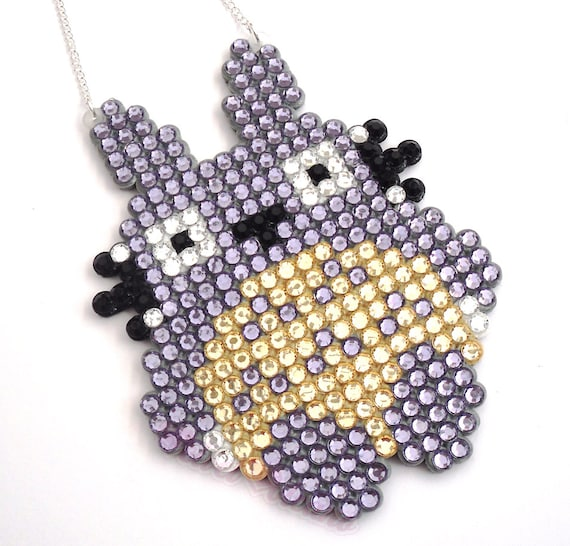 Sparkly Totoro Necklace - Crystal Rhinestone Encrusted Kawaii Jewellery -Studio Ghibli