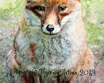 Mr Fox Beautiful Giclee Print of  Watercolour and Ink Painting on Watercolour Paper
