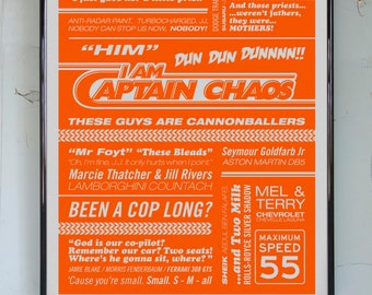 CAPTAIN CHAOS - Cannonball Run Typographic Print in Orange. Available in A2 or A3.