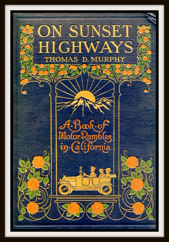 Book Cover Art Etsy ~ Vintage book cover on sunset highways by rosiesvintagepress