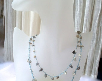 Multi Strand Beaded Crocheted Necklace in Blues