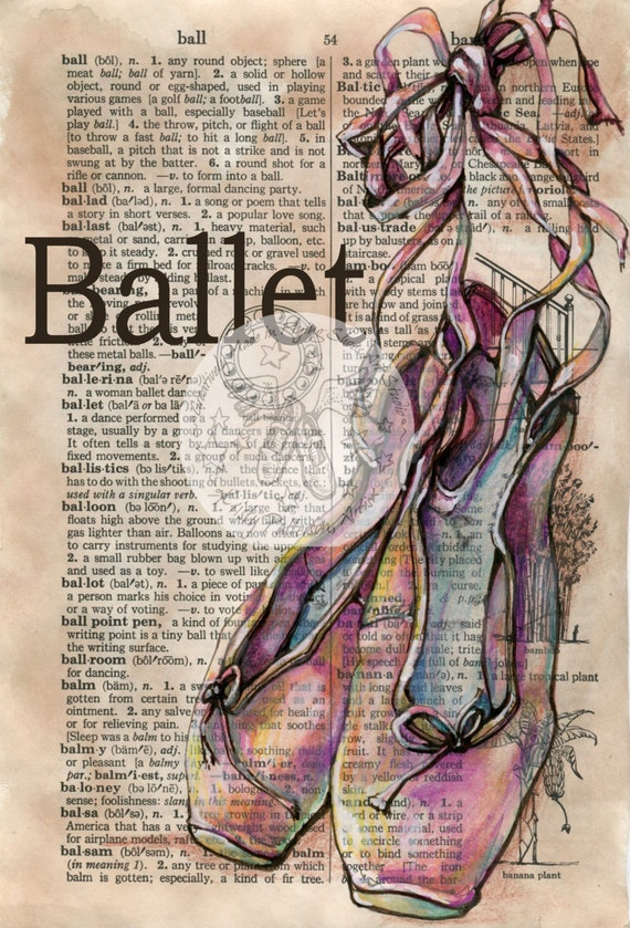Shoe Prints Drawing Print Ballet Shoes Mixed
