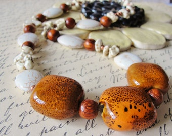 White Magnesite Ceramic Beaded Necklace and Earrings Set Copper Beads Wood Beads Pewter Clasp