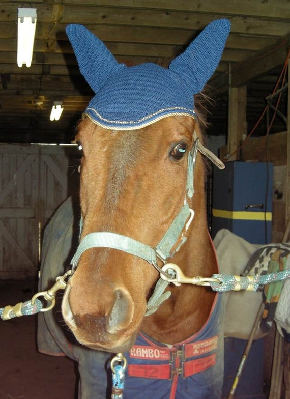 Navy with Gold Accent and Cording Crocheted Fly Horse Bonnet