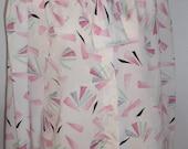 Vintage Ladies Long Sleeve Button Down Dress Blouse White Pink Mint Green Black Design 10