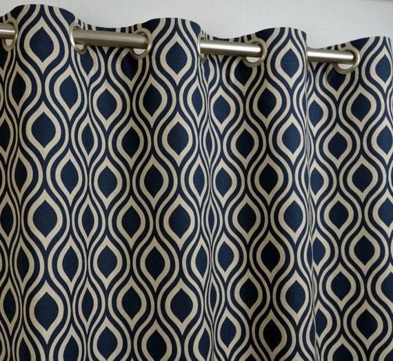 Indigo Navy Blue Beige Ivory Natural Linen Nicole Trellis Curtains ...