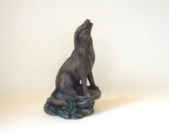 Ceramic Howling Wolf - 8 3/4 inches - hand painted, decor