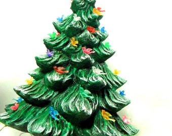 Large  Ceramic Christmas Tree - 16 inches with base-hand made Pine tree with light kit