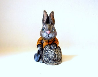 Ceramic Garden Bunny  - 7 inches - hand painted Easter or Garden Bunny, indoor or outdoor, lawn or garden