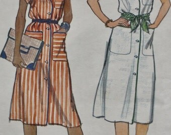 Vogue 9800 /One Piece Button Front Dress /Vintage Pattern /1970s /Bust 36