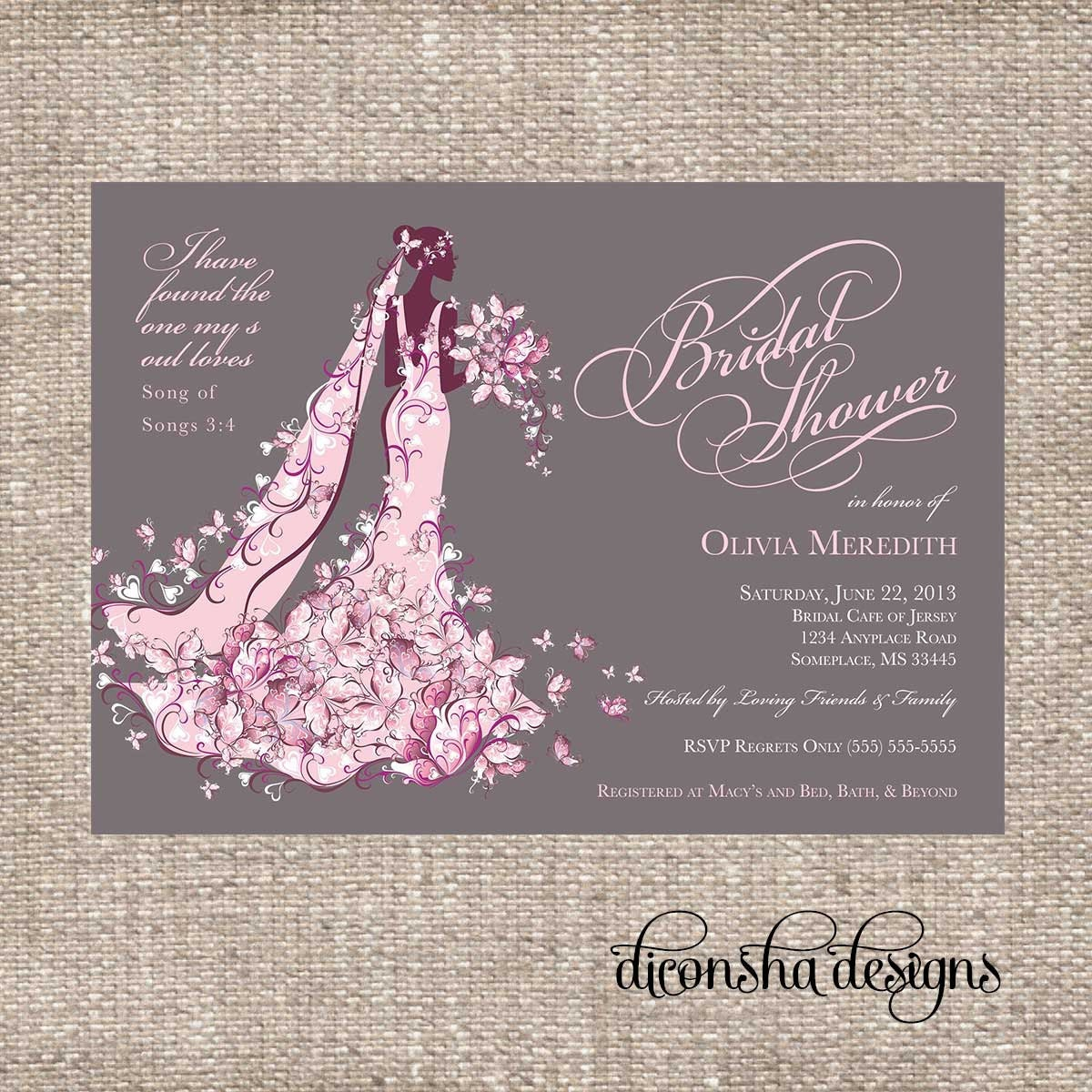 Elegant Christian Bridal Shower Invitation By DiconshaDesigns