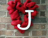 Heart Shaped Burlap Personalized Monogram Valentines Day Wreath