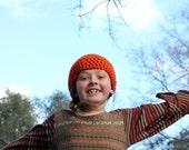 Orange Crochet Hat Womens Hat - Orange Beanie Hat - Girl hat