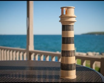 Lighthouse Tea Light Holder of Striped, Solid Hard Maple - Large