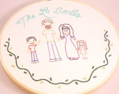 """CUSTOM 8"""" 4 person Family Wall Art hoop hand embroidered wall art personalized ooak"""