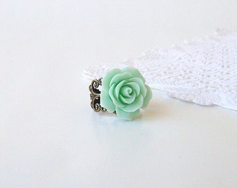 Mint Rose Cabochon Ring - Antique Brass Filigree Adjustable Ring
