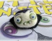 Vampire Halloween Brooch Needle Felted Baby Dracula Pin 'Little Nipper' Felt Pin Badge