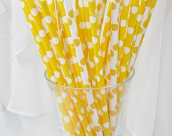 30 Yellow DOTS Paper Straws, Paper Drinking Straws, Party, Mickey Mouse, Carnival, Birhday, Events, BirThDay