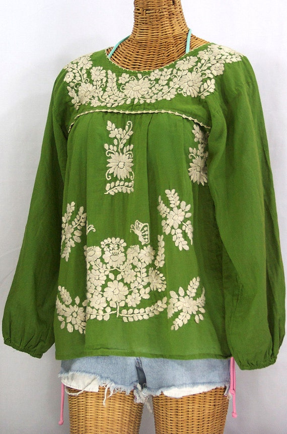 mexican peasant blouse long sleeve top hand by sirenology