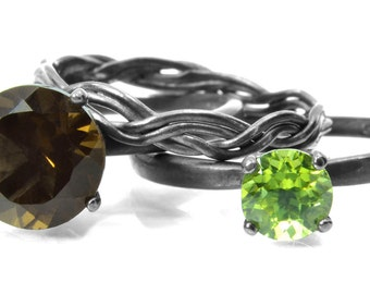 Sterling Silver Stacking Ring Trio, Enchanted Forest Ring Set with Smoky Quartz Peridot and Twisted Wire Ring