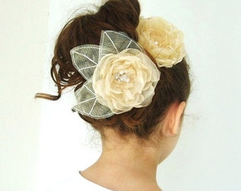 Champagne Pastel Gold Organza Flower Girl Hair Clip Headpiece With Pearls Rhinestone Centre Bridal Wedding Accessory