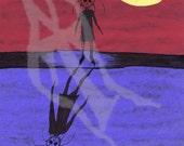 Amanda's Shadow- 8.5 X 11 Signed Art Print- Weird Dark Horror Drawing