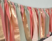"Multicolored Springtime Hand dyed Fabric ""rag"" garland in mint seafoam green, coral peach, pink blush and gold"