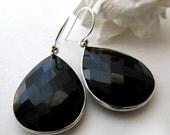 Large Jet Black Dangle Earrings, Black Gemstone Bezel, Black Onyx Faceted Teardrop, Sterling Silver Pear Drop, Silver Black Teardrops