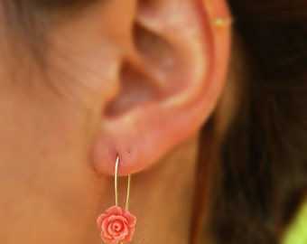 Gold rose earrings, pink rose earrings, gold filled earrings, silver earrings, dangle earrings, everyday earrings, flower earrings