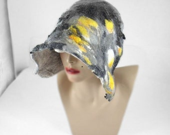 Felted Hat Cloche Hat Grey Hat Flapper hat wearable art  art deco wool felt nunofelt nuno felt silk eco fiber art
