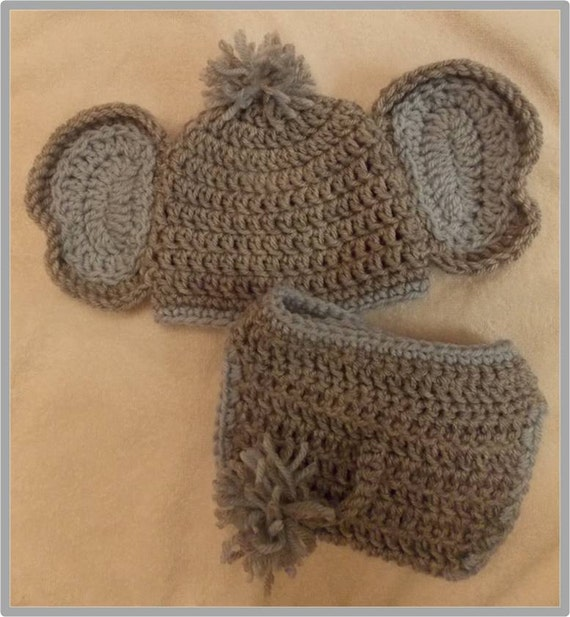 Book Cover Crochet Hats : Baby elephant hat and diaper cover pattern by