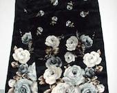 "Oscar de la Renta Silk Floral Scarf 11""x52""Black, Brown, White, Silver 1990's"