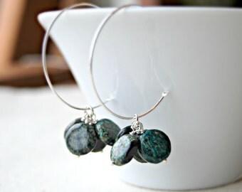 woodland... silver jasper earrings / teal moss green long sper jasper coins & sterling silver hoop earrings