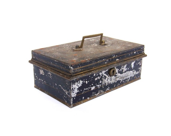 Vintage Lock Box Metal Tin Storage Safety By Stonesoupology