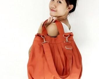 Handbags Canvas Bag Shoulder bag Hobo bagHobo bag Tote Messenger bag Purse Handbag Everyday bag  Burnt Orange  Catie