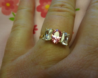 10k Pink Ice & CZ Diamonds Ring I Love Pink Promise Gift Birthday Engagement Bride Wedding Pretty In Pink Gift 10k Gold Rhinestone Crystal