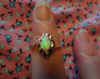 14k Opal Ring Diamonds Gold Fire Green Pink Sparkler European 585 Yellow Gold Band Size 7 Ring Gift