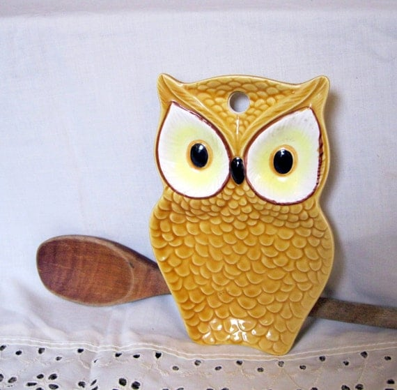 Vintage Owl Kitchen Decor: Yellow Owl Spoon Rest Vintage Kitchen 1970s Home By