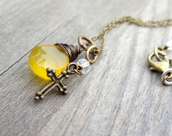 Sunshine Yellow Chalcedony Bronze Wire Wrap Pendant handmade Necklace with Cross and crystal bead charm Christian Religious Jewelry