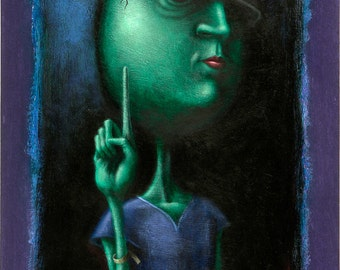 Lowbrow Pop surrealism original painting by Pete Gorski titled: Just One Minute Please