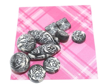 Black and white beads, polymer Clay beads Collection in abstract pattern, Set of 10 unique beads